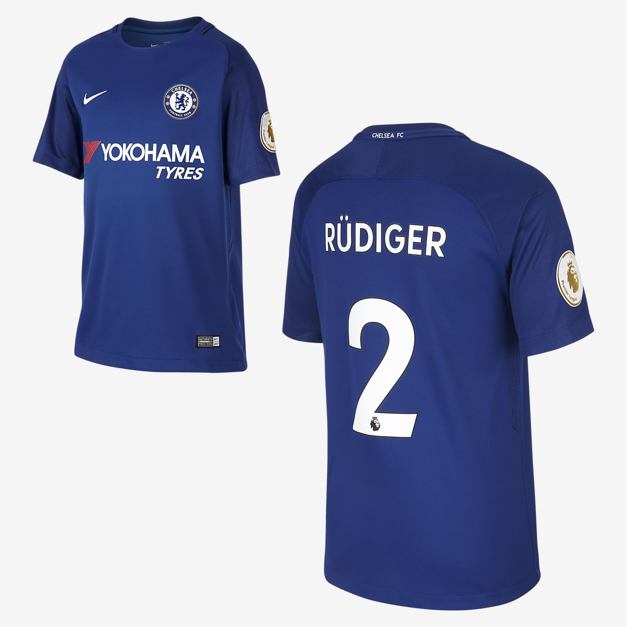 2017/18 Chelsea FC Stadium Home (Antonio Rüdiger) Older Kids' Football Shirt