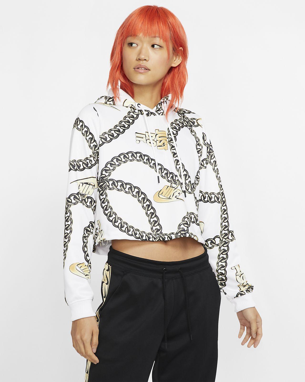 Kort Nike Sportswear Icon Clash-top med hætte til kvinder