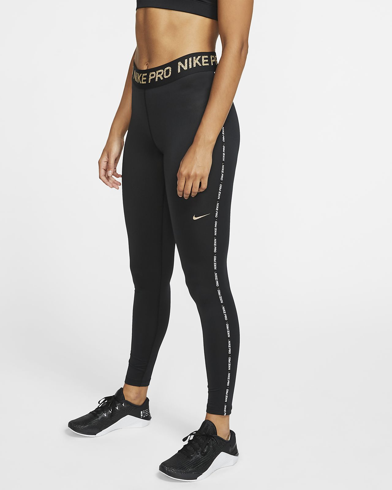 Metalliske Nike Pro Warm-tights til kvinder