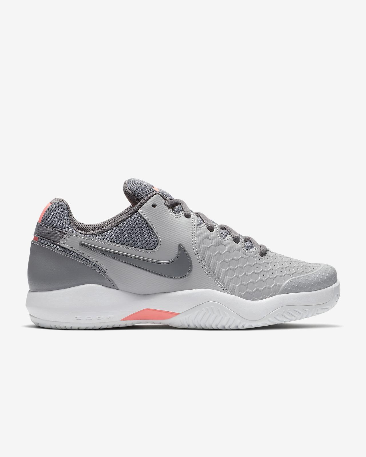 NIKECOURT AIR ZOOM RESISTANCE Womens Tennis Shoe 918201 013 Atmosphere Grey Lava Glow White Gunsmoke