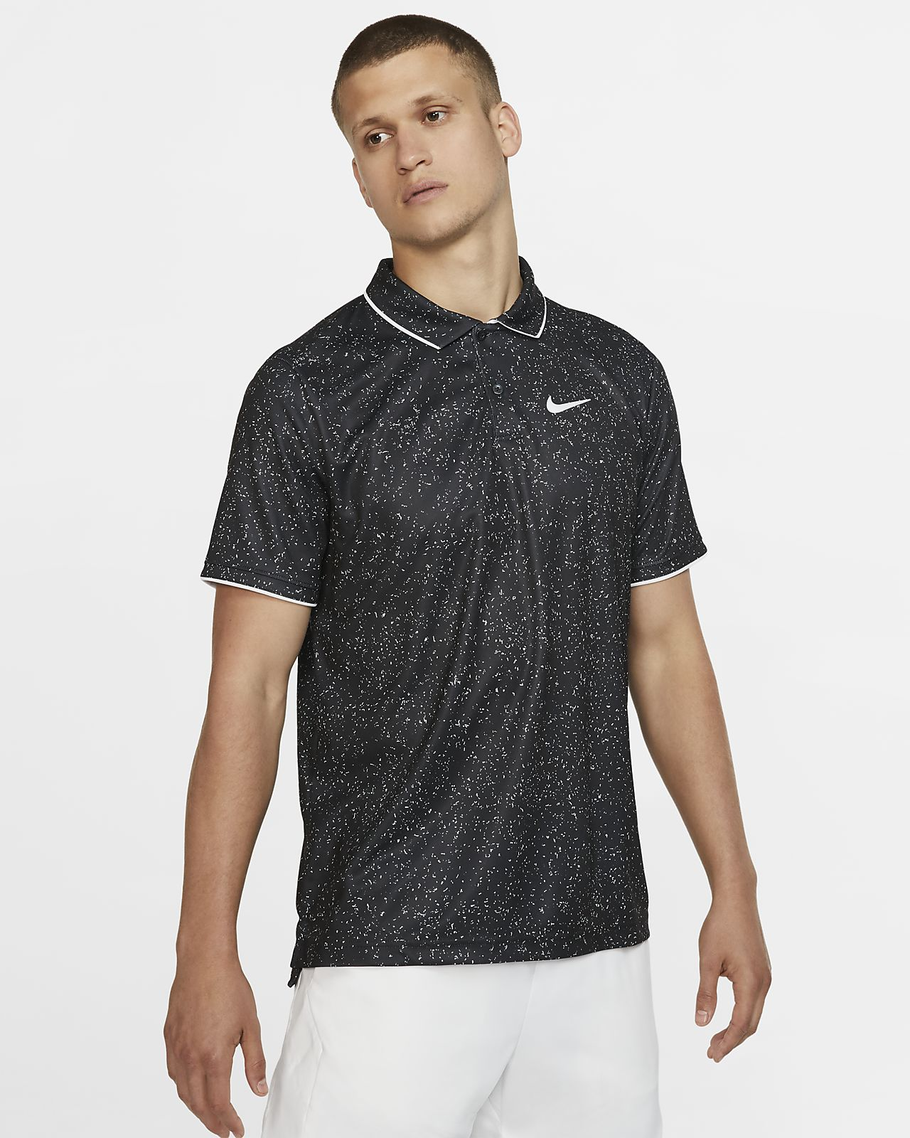 NikeCourt Dri-FIT mønstret tennisskjorte til herre