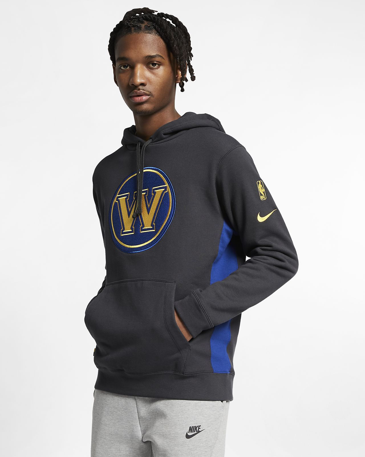 Golden State Warriors Nike NBA-s kapucnis férfipulóver