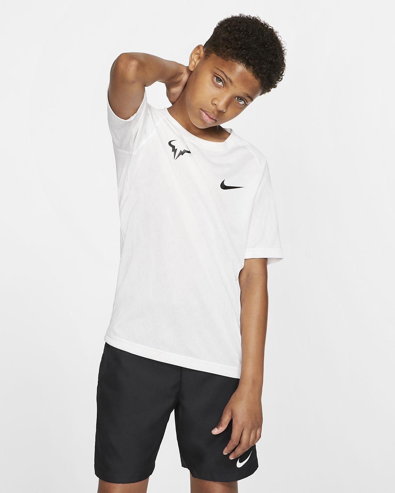 Chłopięcy T-shirt do tenisa z nadrukiem NikeCourt Dri-FIT Rafa