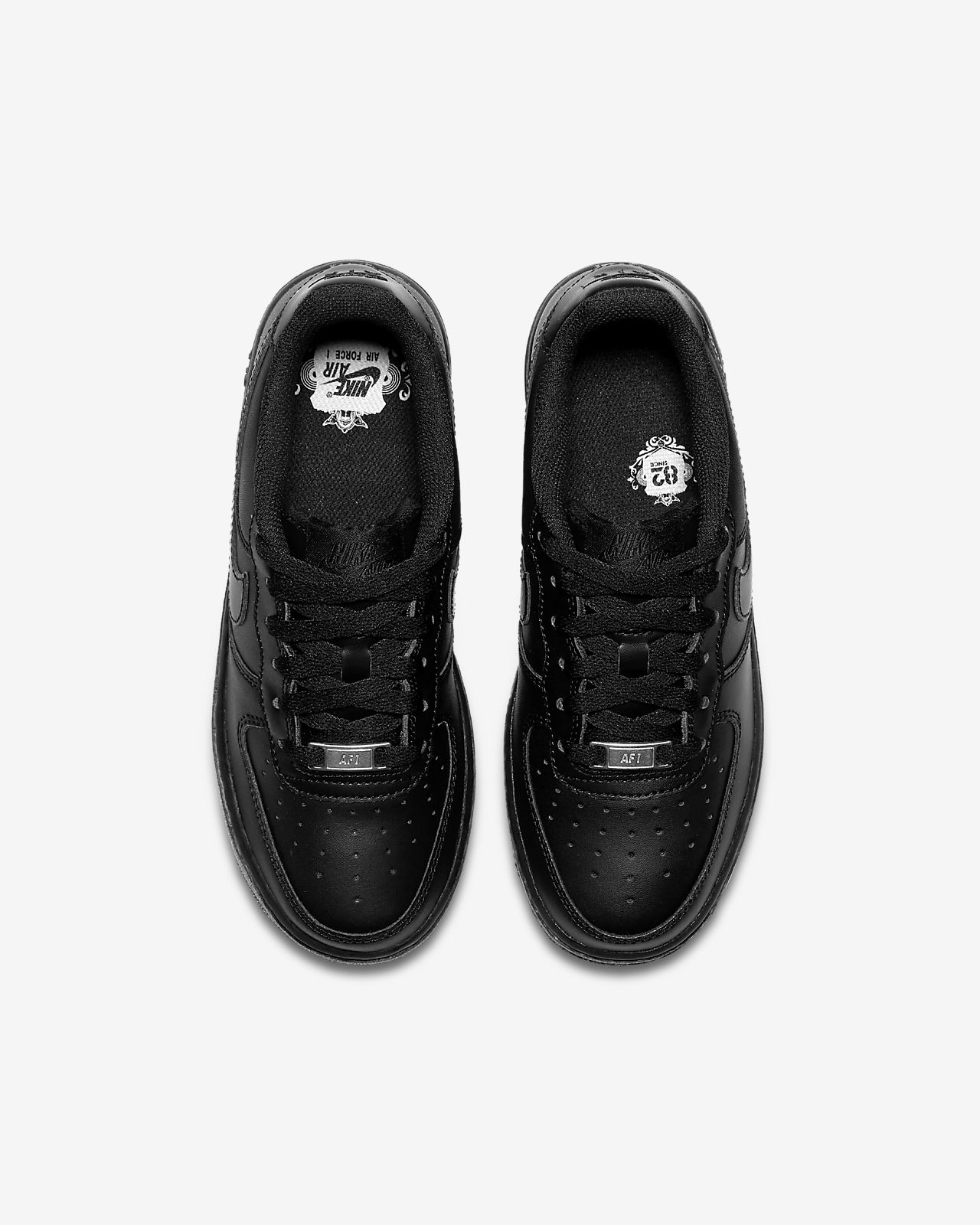 Nike Air Force 1 Big Kids Style Shoes 314192, BlackBlack, 6