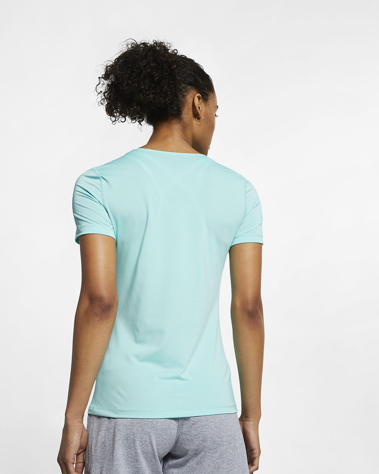 ab68e704e9b6 Γυναικεία κοντομάνικη μπλούζα προπόνησης από διχτυωτό υλικό Nike Pro ...