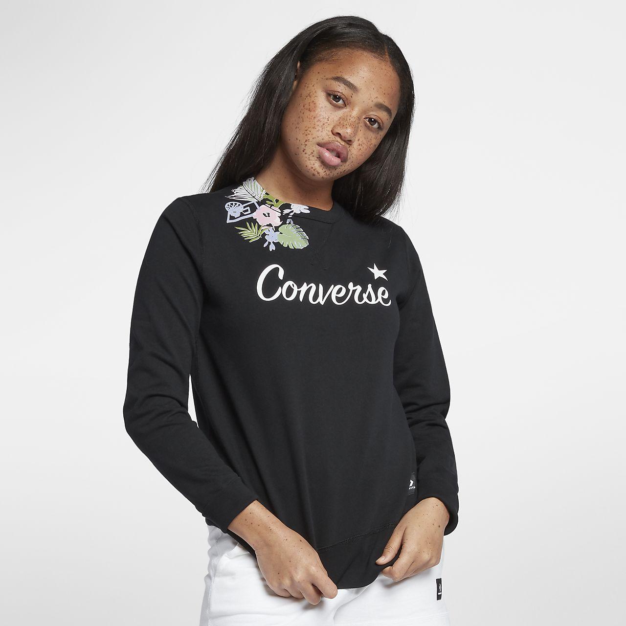 Converse Essentials Lightweight Palm Print Star Crew Women's Sweatshirt
