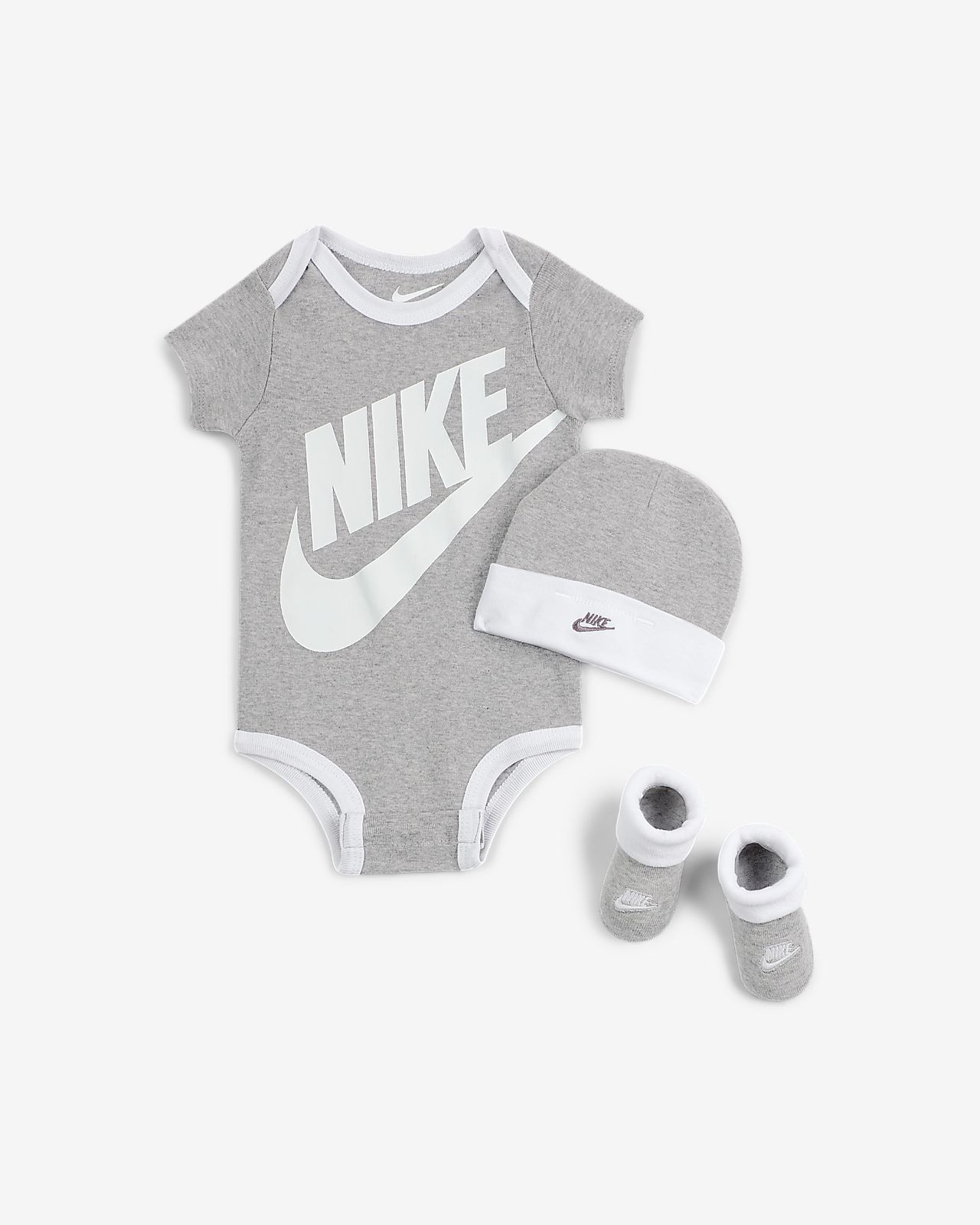 Nike Sportswear Baby Bodysuit, Beanie and Booties Box Set