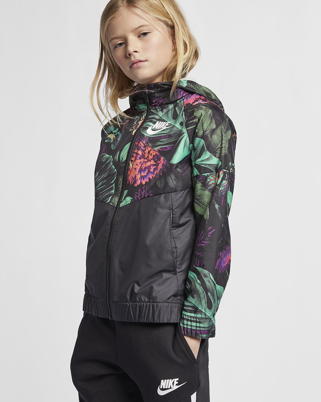 """Nike Sportswear Windrunner """"Floral""""-blomstervindjakke til store børn (piger)"""
