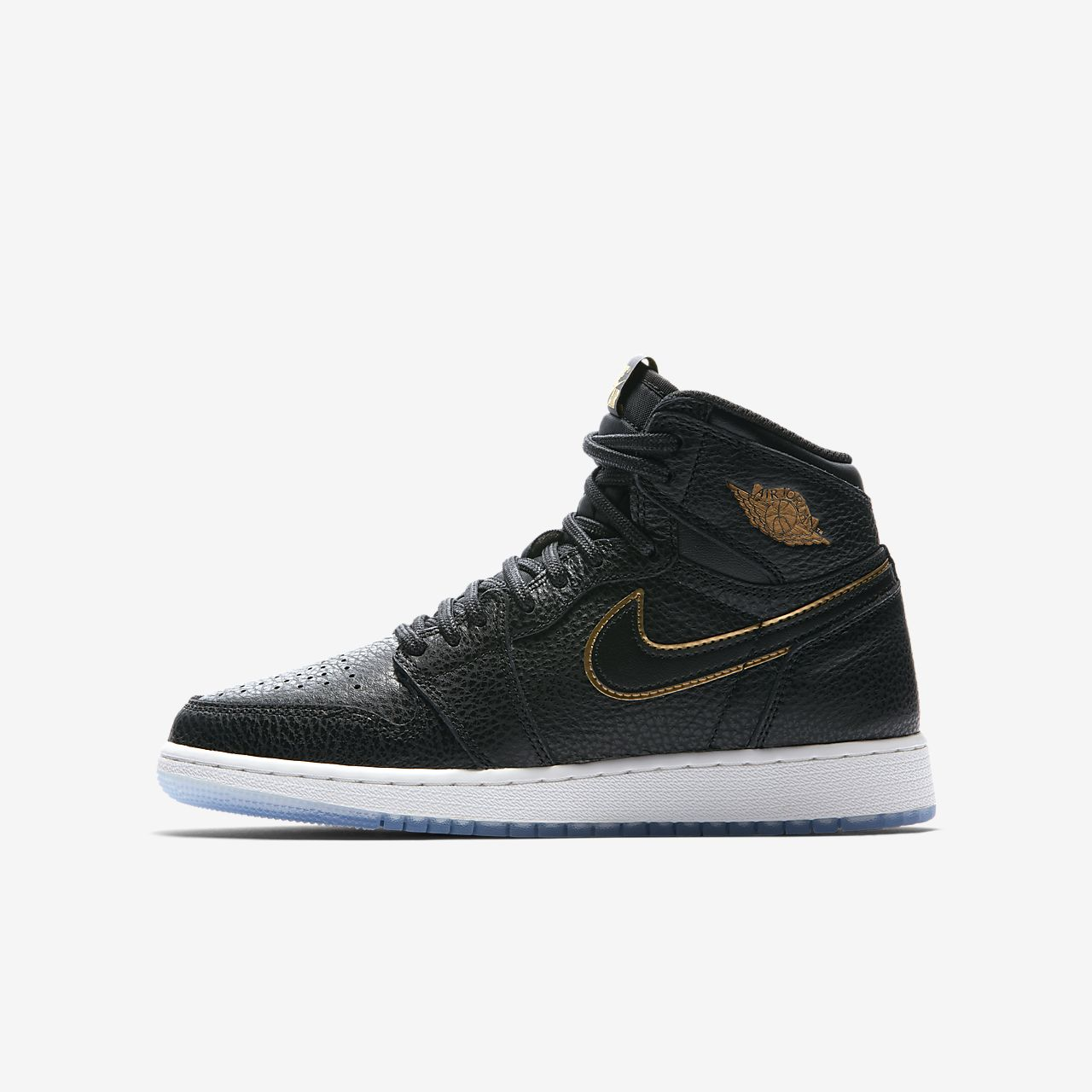 Nike Air Jordan 1 Retro High Top Sneaker Scarpe da ginnastica PELLE NERO OFFERTA