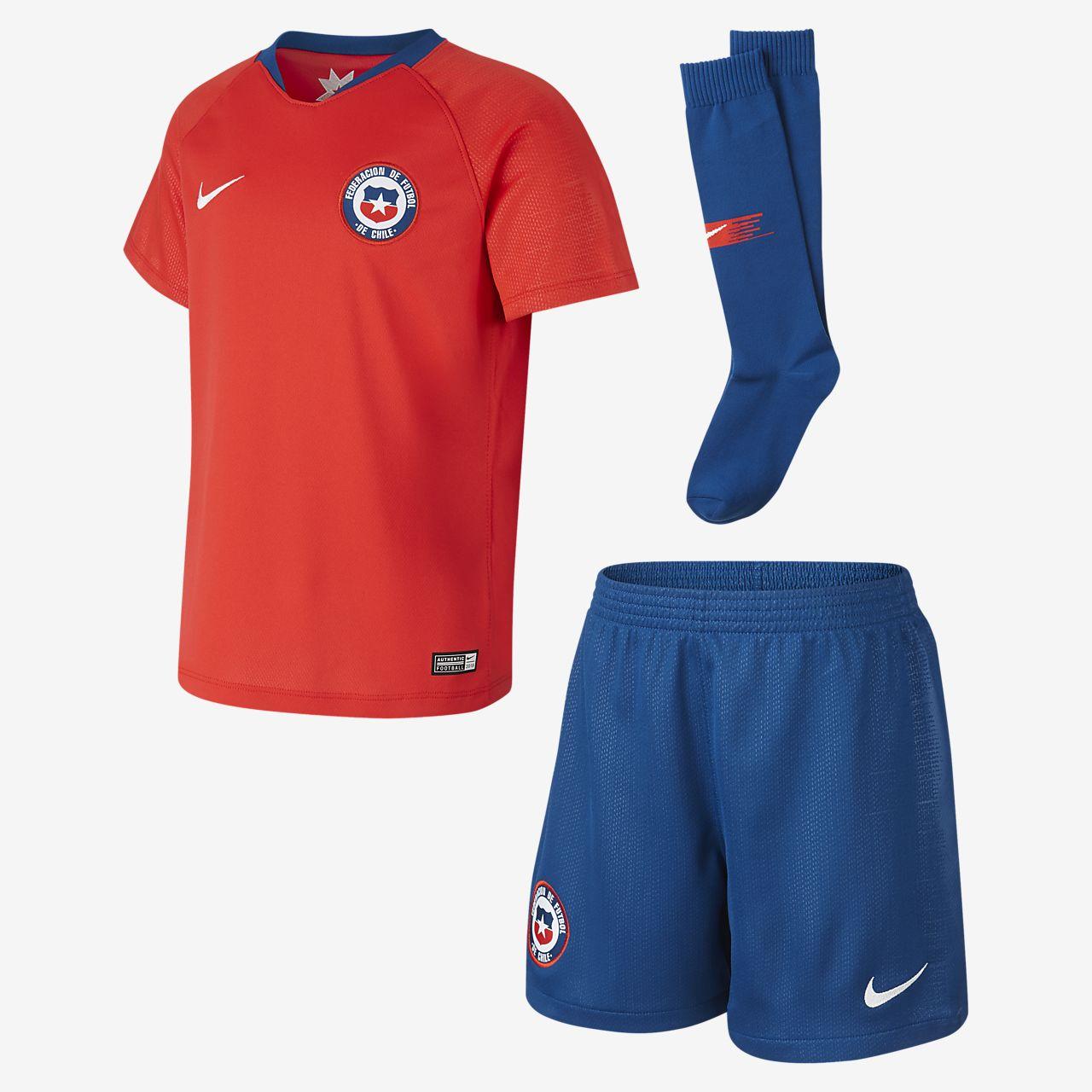 Kit de fútbol para niños talla pequeña de local 2018 Chile Stadium