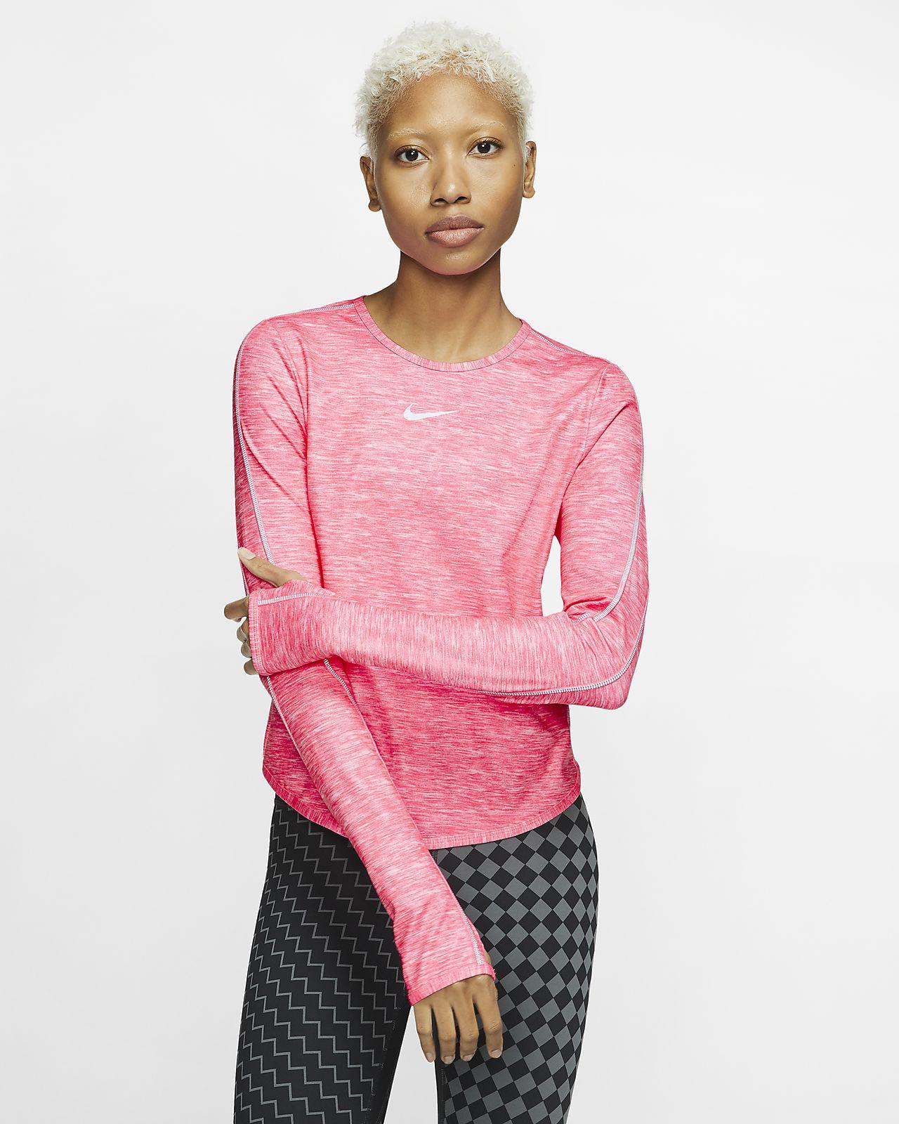 Langærmet Nike-løbetop til kvinder