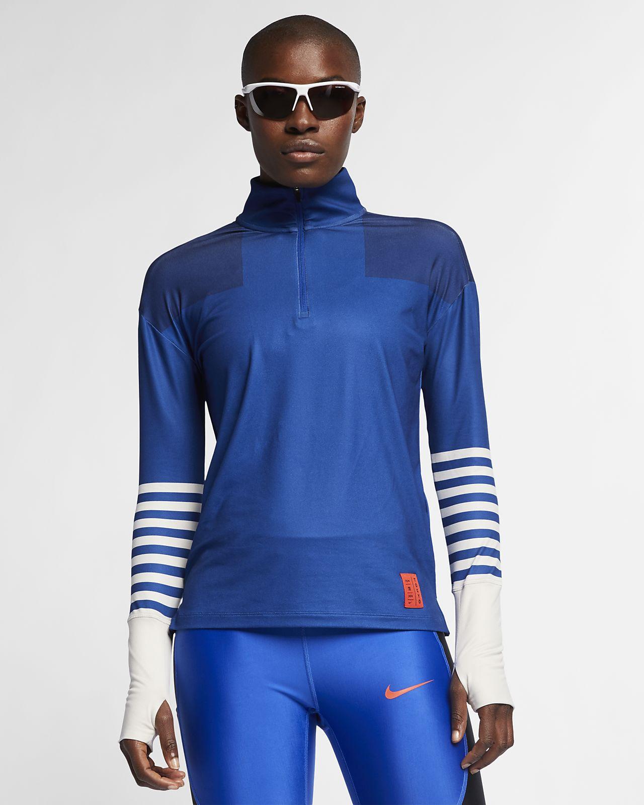 Nike-løbetop med kvart lynlås til kvinder