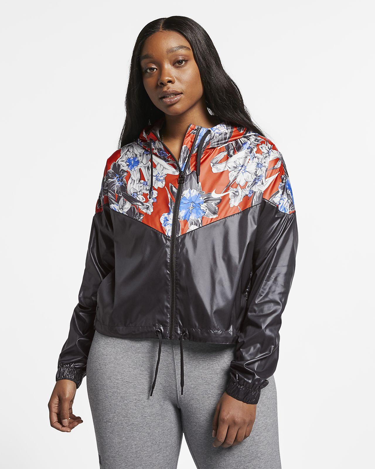 7e841c9ac Nike Sportswear Windrunner Women s Cropped Floral Jacket (Plus Size ...