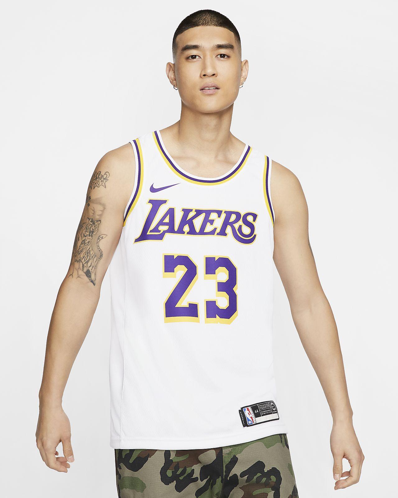 洛杉矶湖人队 (LeBron James) Association Edition Swingman Jersey Nike NBA Connected Jersey 男子球衣