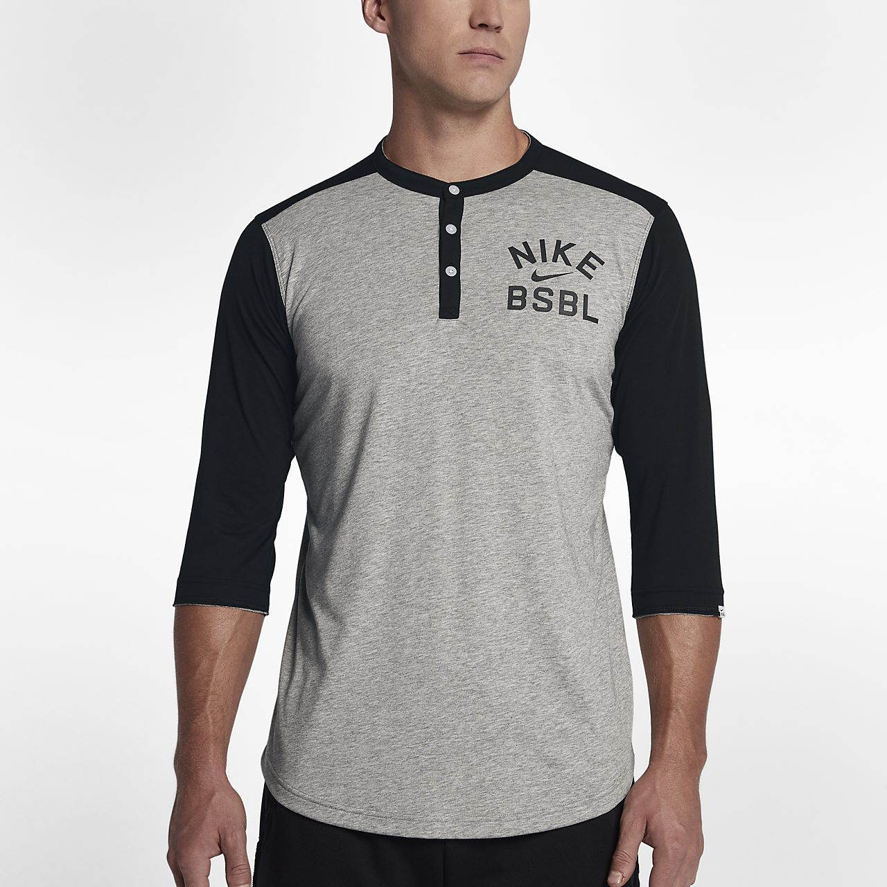 ... Nike Henley Men's 3/4 Sleeve Baseball Top