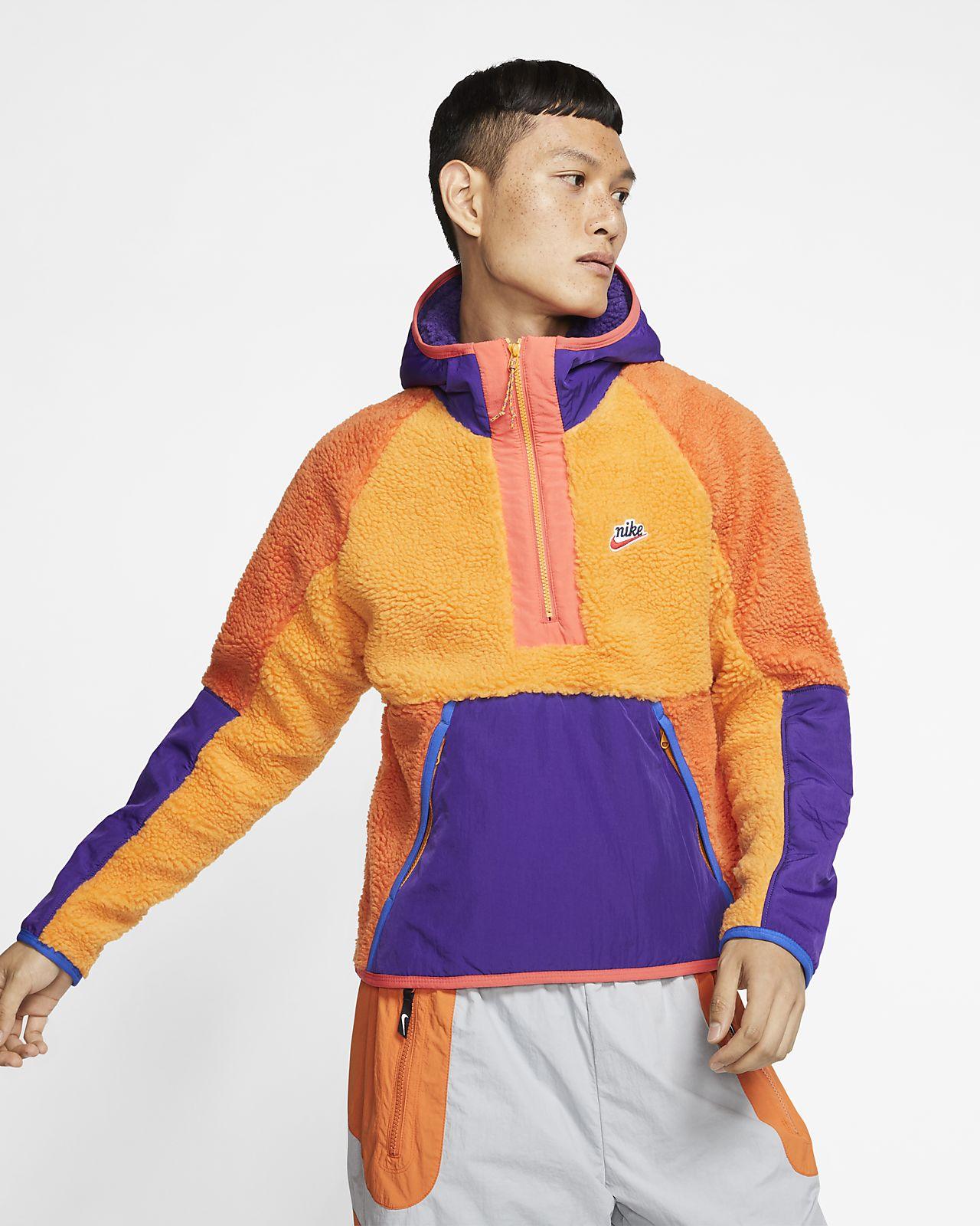 Nike winter sherpa zip through jacket in tealblue