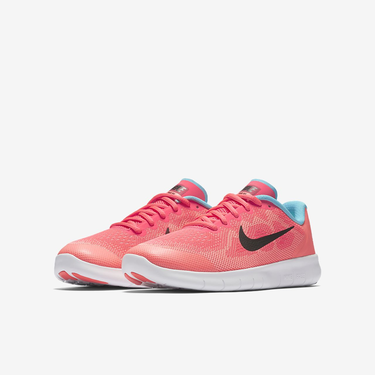 Nike Free RN 2017 Chaussures de Course Pour Enfants, Noir/Orange
