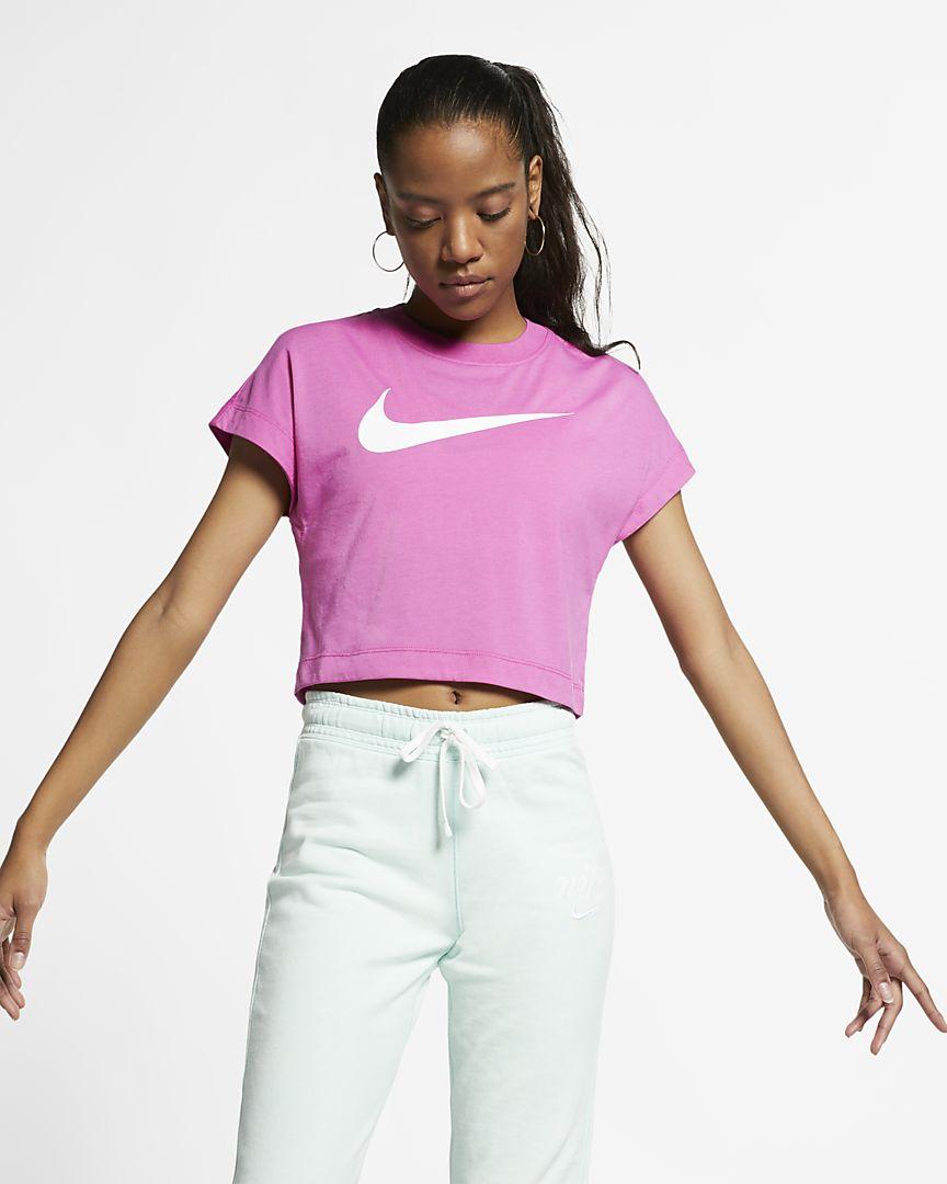 Nike - Nike Sportswear kurzärmliges Crop Top mit Swoosh für Damen - 1
