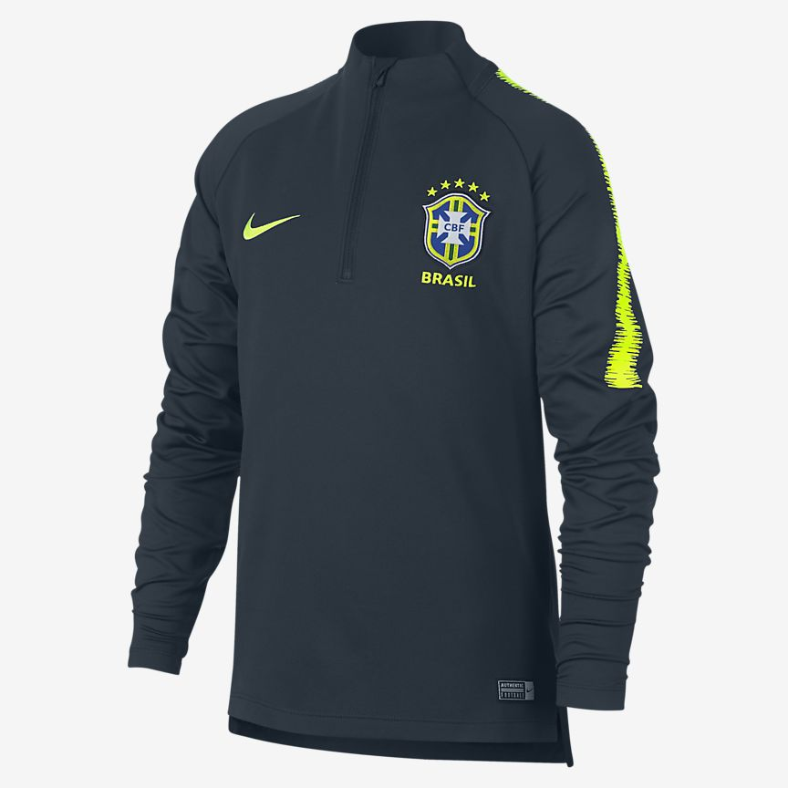 Nike - Brasilien CBF Dri-FIT Squad Drill Langarm-Fußballoberteil für ältere Kinder - 1