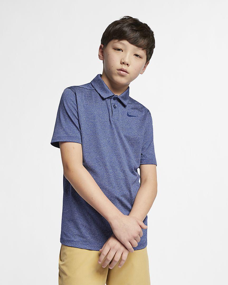 Nike - Nike Dri-FIT gestreiftes Golf-Polo für ältere Kinder (Jungen) - 1