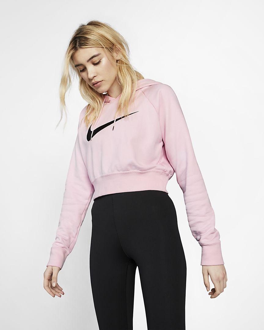 Nike - sportswear swoosh  cropped french terry hoodie - 1