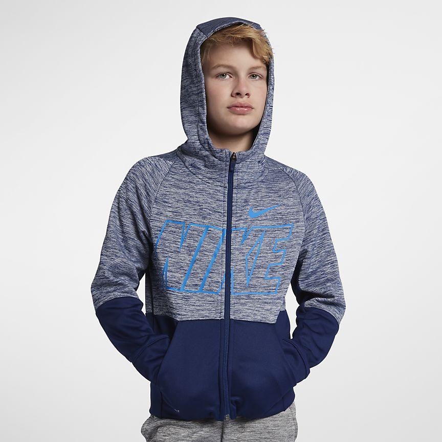 Nike - Nike Dri-FIT Therma Trainings-Hoodie mit durchgehendem Reißverschluss für ältere Kinder (Jungen) - 1