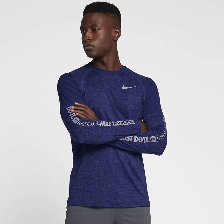 Nike - Nike Langarm-Lauf-Rundhalsshirt für Herren - 1