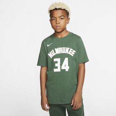 T-shirt do koszykówki dla dużych dzieci (chłopców) Nike Icon NBA Bucks (Antetokounmpo)