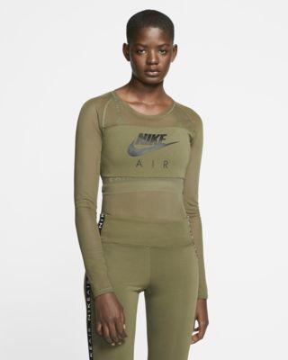 Low Resolution Γυναικείο μακρυμάνικο ολόσωμο κορμάκι από διχτυωτό υλικό Nike Air