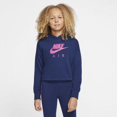 Μπλούζα με κουκούλα σε κοντό μήκος Nike Air για μεγάλα κορίτσια