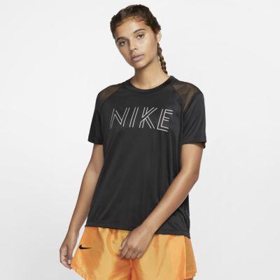 Nike Dri FIT Miler Metallic Kurzarm Laufoberteil für Damen