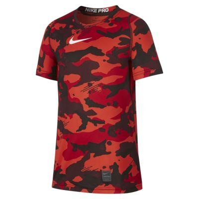 Nike Pro Big Kids' (Boys') Short-Sleeve Printed Top
