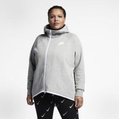 Dámská mikina s kapucí a dlouhým zipem Nike Sportswear Tech Fleece (větší velikosti)