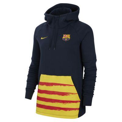 Sudadera de fútbol con capucha y sin cierre de tejido Fleece para mujer FC Barcelona