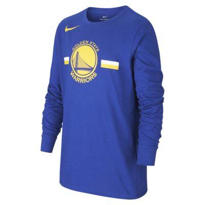 Långärmad NBA-t-shirt Golden State Warriors Nike Dri-FIT Logo för ungdom