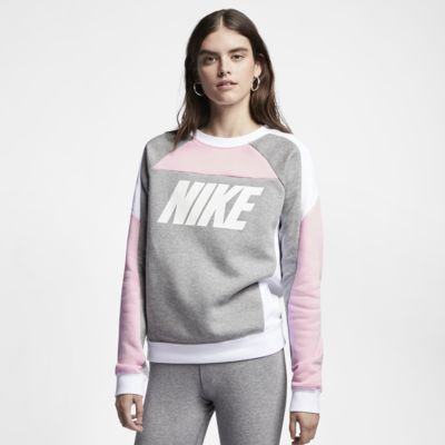 Fleecetröja med rund hals och färgblock Nike Sportswear för kvinnor