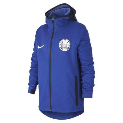 Mikina NBA Golden State Warriors Nike Dri-FIT Showtime s kapucí a zipem v plné délce pro větší děti (chlapce)