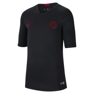 Nike Breathe Paris Saint-Germain Strike-fodboldoverdel med korte ærmer til store børn