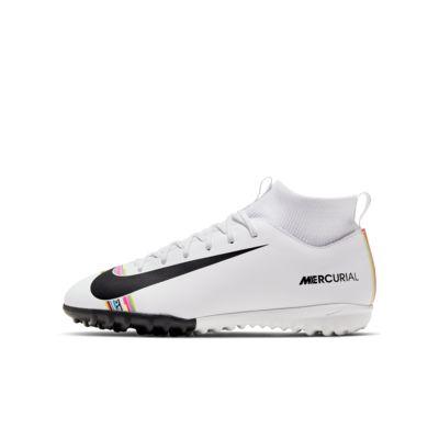 รองเท้าฟุตบอลเด็กเล็ก/โตสำหรับพื้นสนามหญ้าเทียม Nike Jr. SuperflyX 6 Academy LVL UP TF
