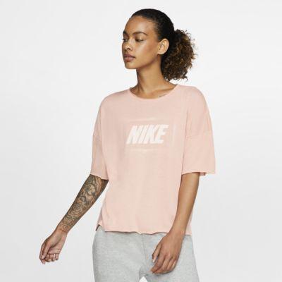 Kortärmad träningströja med tryck Nike Dri-FIT för kvinnor
