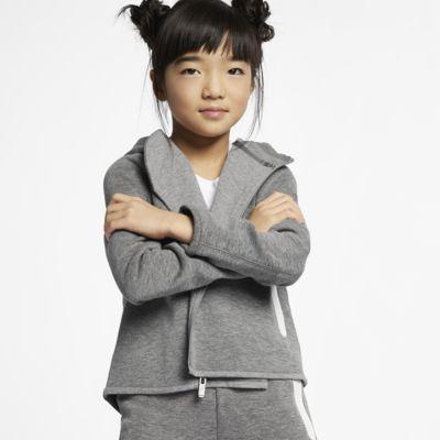Mikina s kapucí a dlouhým zipem Nike Sportswear Tech Fleece pro malé děti