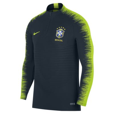 Langærmet Brasil CBF VaporKnit Strike Drill-fodboldtrøje til mænd