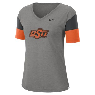 Nike College Breathe (Oklahoma State) Women's Short-Sleeve V-Neck Top