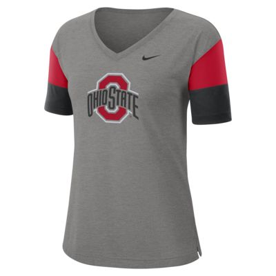 Nike College Breathe (Ohio State) Women's Short-Sleeve V-Neck Top