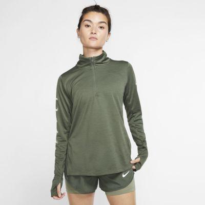 Damska koszulka do biegania z zamkiem 1/2 Nike Swoosh