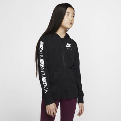 Mikina Nike Air s kapucí a dlouhým zipem pro větší děti (dívky)