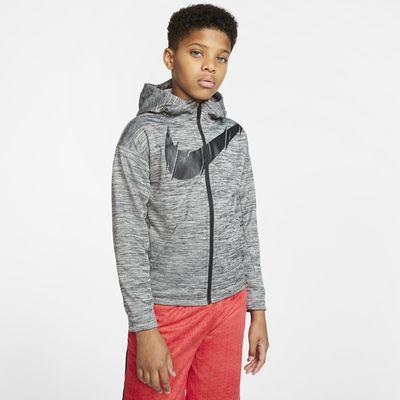 Tréninková mikina Nike Therma s kapucí a zipem po celé délce pro větší děti (chlapce)