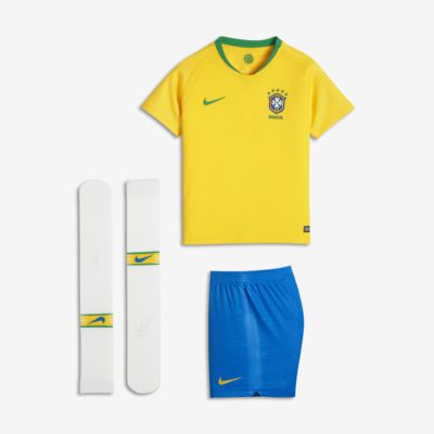 Uniforme de fútbol para niños talla pequeña 2018 Brasil CBF Stadium Home