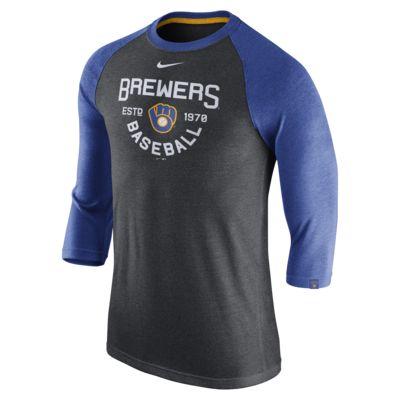 Nike Tri-Blend Raglan (MLB Brewers) Men's 3/4 Sleeve T-Shirt