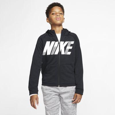 Tréninková mikina Nike Dri-FIT s kapucí, zipem po celé délce a grafickým motivem pro větší děti